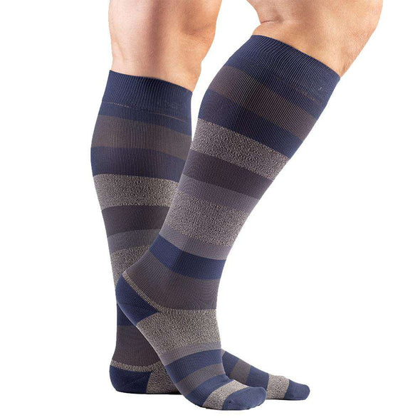 VenaCouture Men's Bold Regency Stripe Compression Socks, Midnight Navy