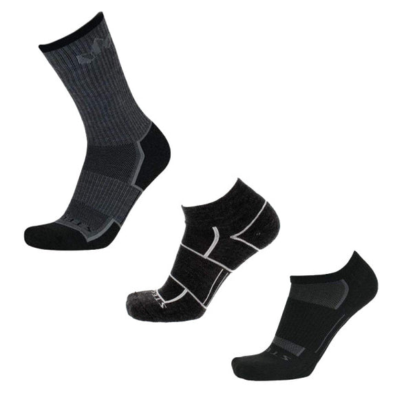 Stego All-Around Variety 3-Pack, Black/Charcoal/Ash