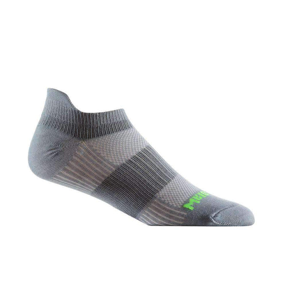 Wrightsock CoolMesh II Tab Socks, Steel Grey/Green Logo