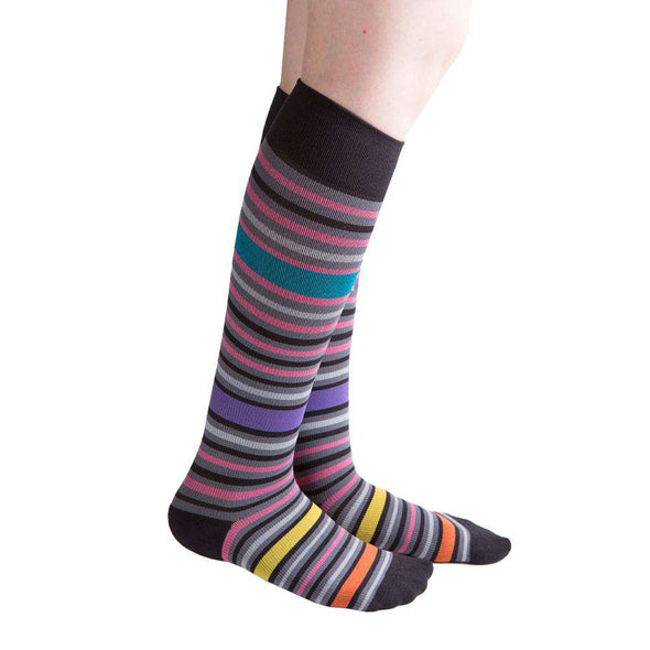 VenaCouture Women's Bold Bayadere Striped Compression Socks, Mystic Pink