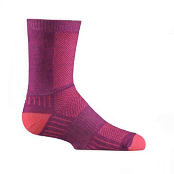 Wrightsock Kid's Coolmesh II Crew Socks, Plum/Pink
