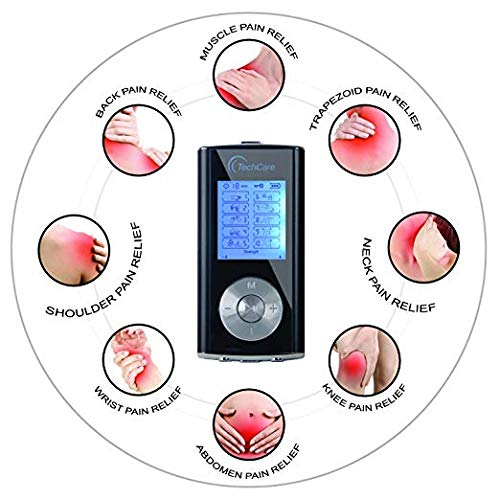 TechCare Portable Mini Massager Tens Unit Muscle Stimulator Machine with Hard Case