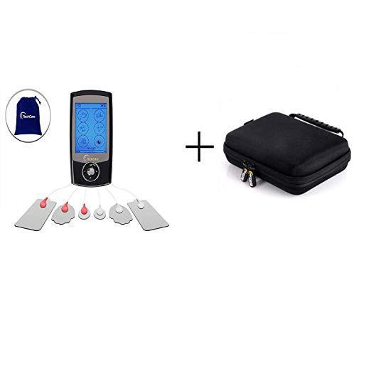 TechCare Pro 24 Different Modes Rechargeable Portable Tens Unit Muscle Stimulator Machine with Hard Travel Case