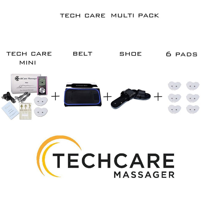 TechCare Mini Tens Massager +  Belt + Shoe +  6 Pads