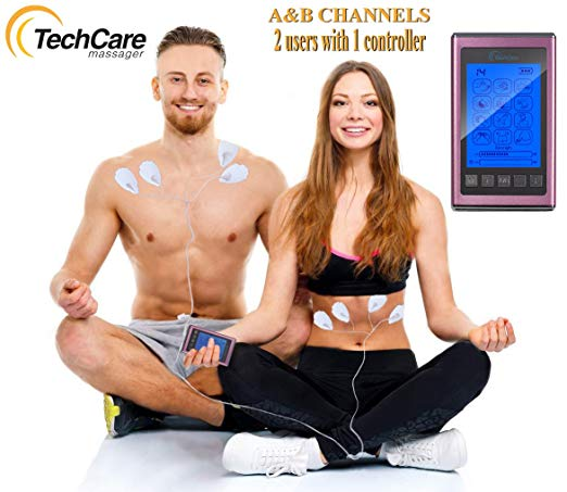 Tens Unit Muscle Stimulator EMS 12 Massage Modes Full Body Back Pain Relief(PINK)