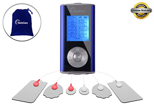 TechCare Mini 10 Modes Massager Tens Unit Muscle Stimulator Machine with Hard Case