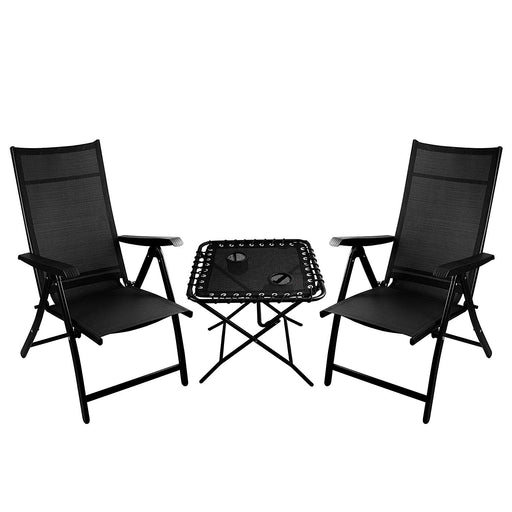 TechCare 2 Heavy Duty Durable Adjustable Reclining Folding Chairs + 1 Folding Side Table Outdoor Indoor Garden Pool
