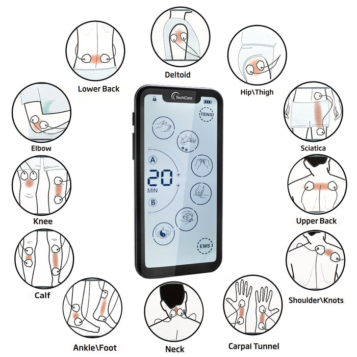 TechCare Touch X Tens Unit Muscle Stimulator [Lifetime Warranty] 24 Massage Mode Tens EMS Machine Device