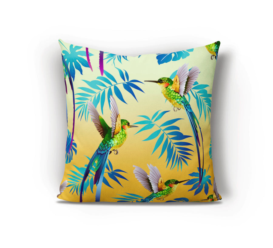 Gorgeous Hummingbird Cushion with birds in flight. Our Hummingbird cushion is the perfect piece of tropical decor