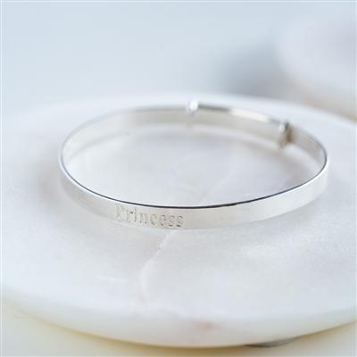 Sterling Silver Princess Baby Bangle