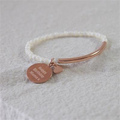 Mother of Pearl Bracelet with Heart Charm