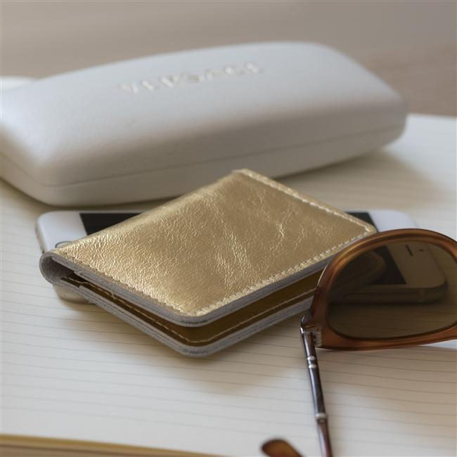 Personalised Gold Leather Card Case