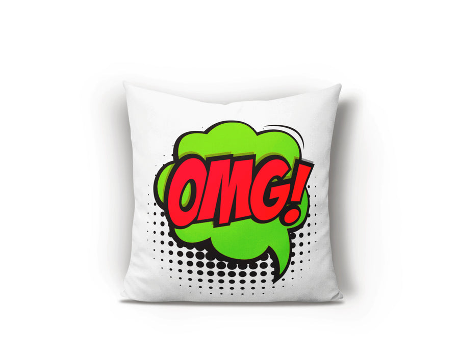 Pop art retro cushion, OMG cushion, Bright cushions, Kids bedroom ideas, Cool bedroom ideas, pop art decor, pop art interiors, Roy Lichtenstein, Andy Warhol