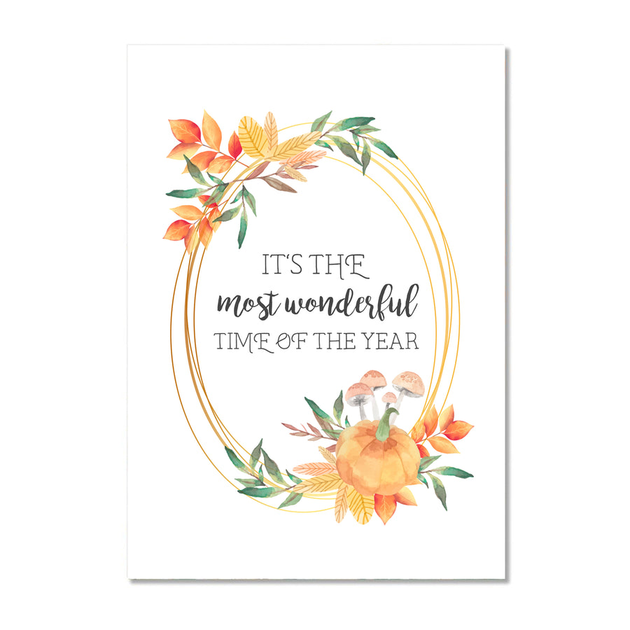 Fall Wall Art Print - It's The Most Wonderful Time Of The Year
