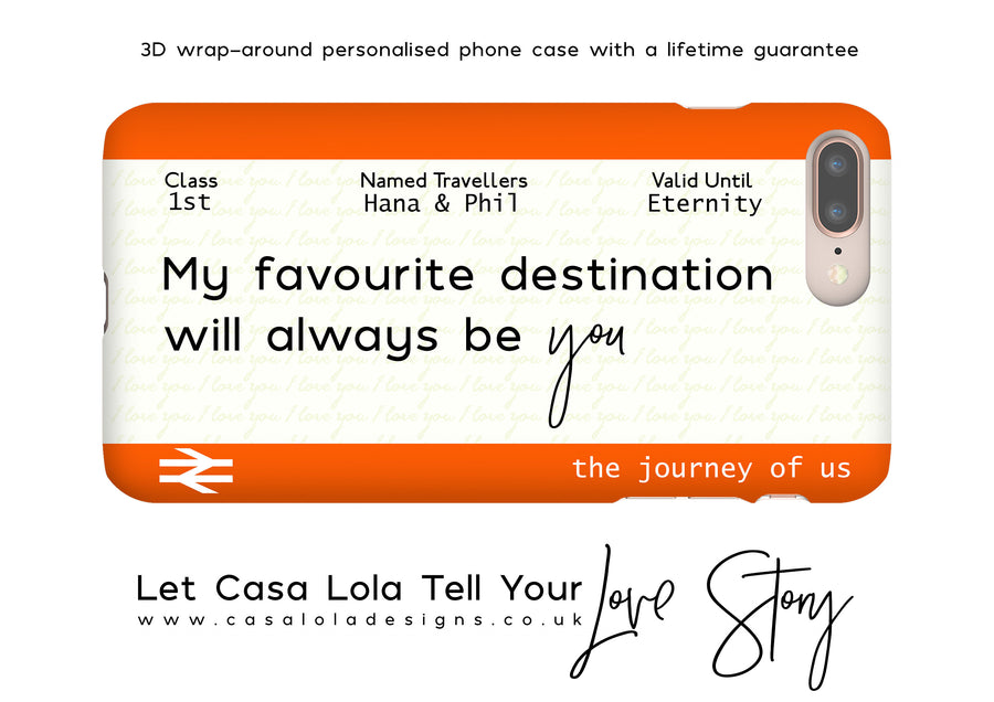 Personalised Train Ticket Phone Case