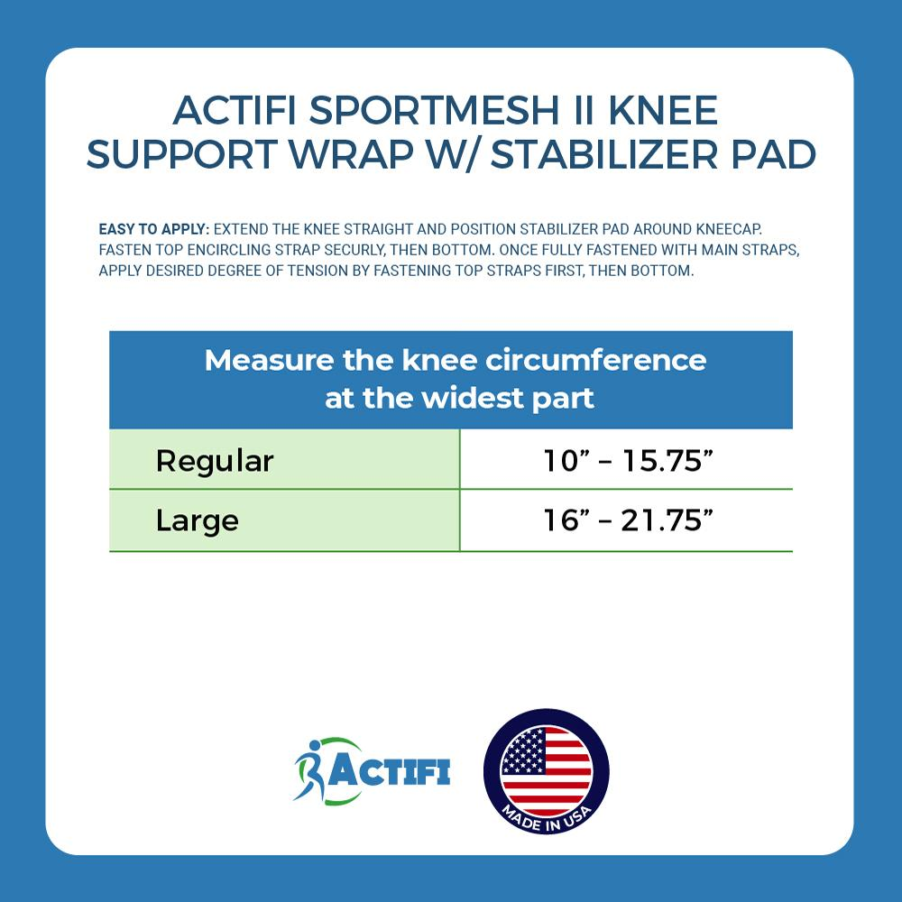 Actifi SportMesh II Adjustable Knee Support Wrap w/ Stabilizer Pad