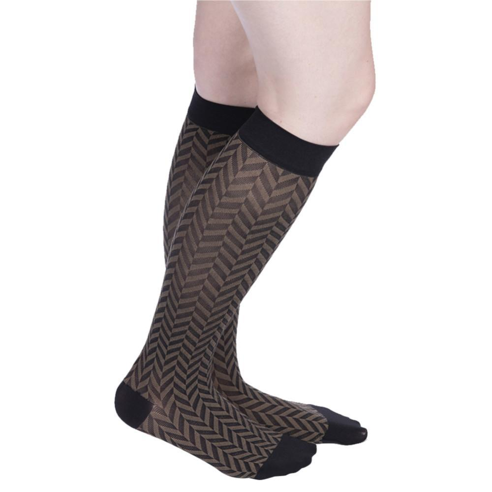 VenaCouture Women's Sheer Designs Chevron 15-20 mmHg Compression Sock