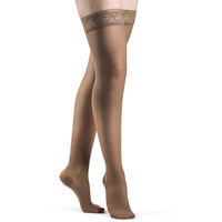 Sigvaris Sheer Fashion Women's 15-20 mmHg Thigh High, Café