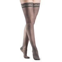 Sigvaris Sheer Fashion Women's 15-20 mmHg Thigh High, Charcoal