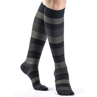 Sigvaris Microfiber Patterns Women's 20-30 mmHg Knee High, Dark Navy Stripe