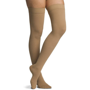 Sigvaris Cotton Women's 30-40 mmHg Thigh High, Light Beige (Crispa)