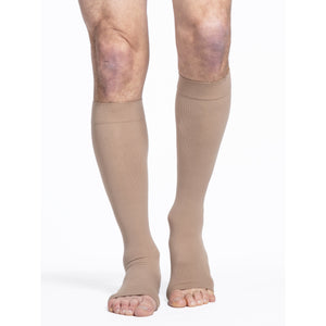 Sigvaris Cotton 20-30 mmHg OPEN TOE Knee High, Light Beige (Crispa)