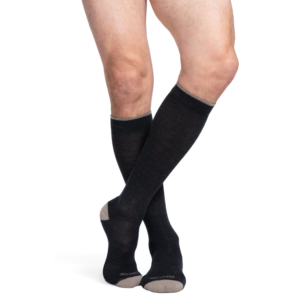 Sigvaris Merino Outdoor Socks 15-20 mmHg Knee High, Charcoal