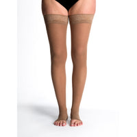 Sigvaris Sheer Women's 30-40 mmHg OPEN TOE Thigh High, Café