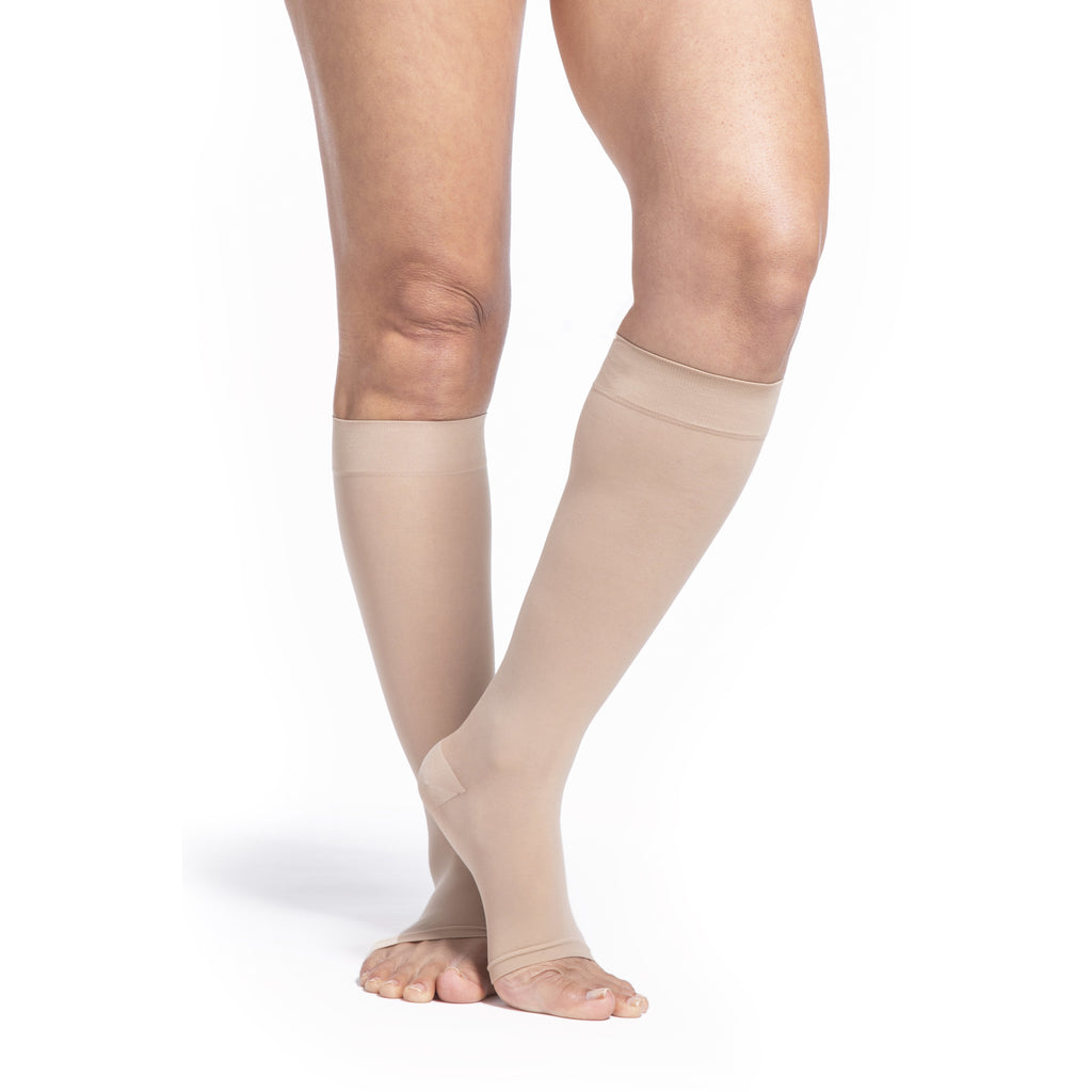 Sigvaris Sheer Women's 30-40 mmHg OPEN TOE Knee High, Natural