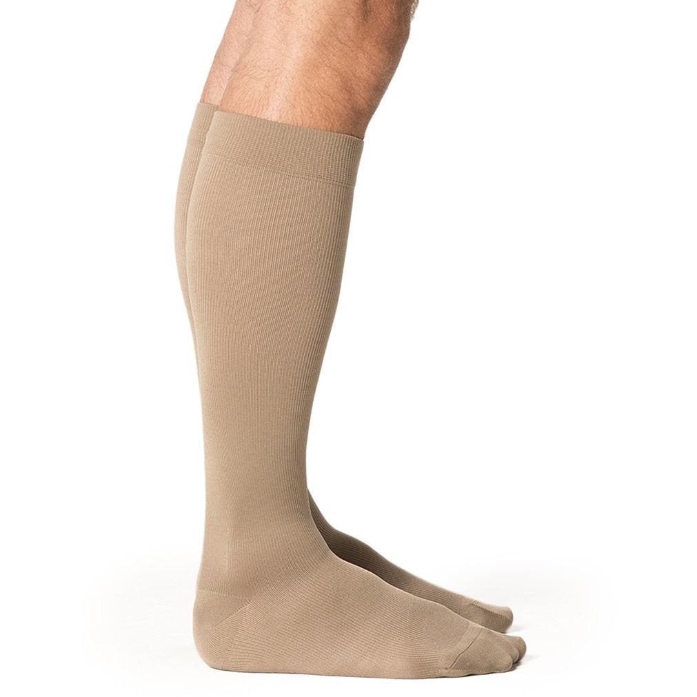 Sigvaris Microfiber Men's 30-40 mmHg Knee High, Tan-Khaki