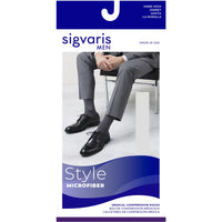 Sigvaris Microfiber Men's 20-30 mmHg Knee High w/ Silicone Beaded Grip-Top