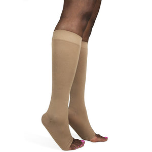 Sigvaris Soft Opaque Women's 15-20 mmHg OPEN TOE Knee High, Nude