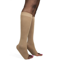 Sigvaris Soft Opaque Women's 20-30 mmHg OPEN TOE Knee High, Nude