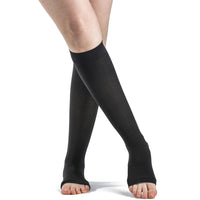 Sigvaris Soft Opaque Women's 15-20 mmHg OPEN TOE Knee High, Black