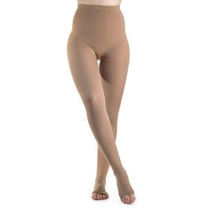 Sigvaris Soft Opaque Women's 15-20 mmHg OPEN TOE Pantyhose, Nude