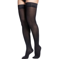 Sigvaris Soft Opaque Women's 15-20 mmHg Thigh High, Black