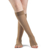 Sigvaris Opaque 20-30 mmHg OPEN TOE Knee High w/ Silicone Band Grip-Top, Light Beige (Crispa)