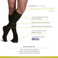 Sigvaris Casual Cotton Men's 15-20mmHg Knee High Features