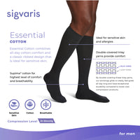 Sigvaris Cotton Men's 20-30 mmHg Knee High Features