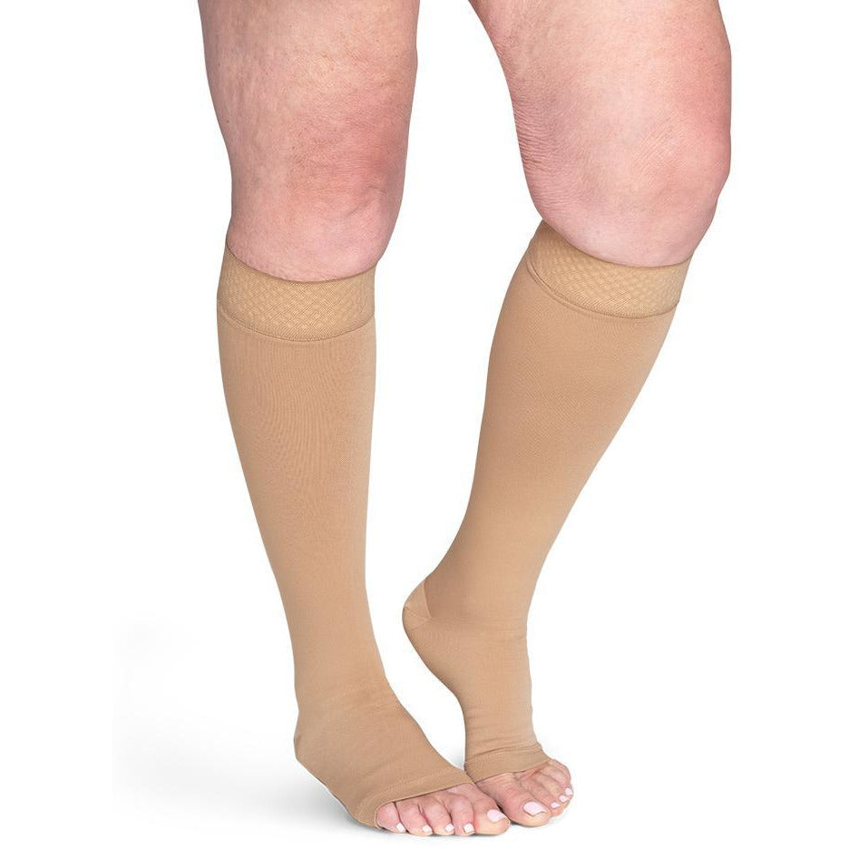 Sigvaris Secure 30-40 mmHg OPEN TOE Knee High, Beige