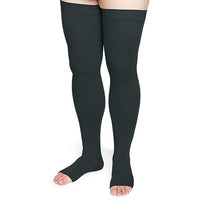 Sigvaris Secure 30-40 mmHg OPEN TOE Thigh High, Black