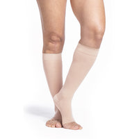 Sigvaris Sheer Women's 20-30 mmHg OPEN TOE Knee High, Toasted Almond
