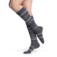 Sigvaris Microfiber Patterns Women's 20-30 mmHg Knee High, Graphite Mini-Stripe