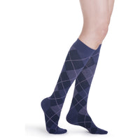 Sigvaris Microfiber Patterns Women's 20-30 mmHg Knee High, Purple Argyle