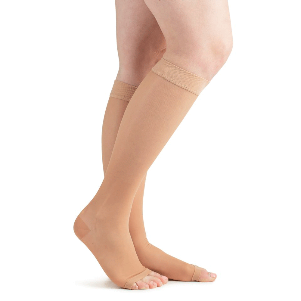 Actifi Women's 15-20 mmHg Sheer Knee High Open Toe Stockings, Light Nude