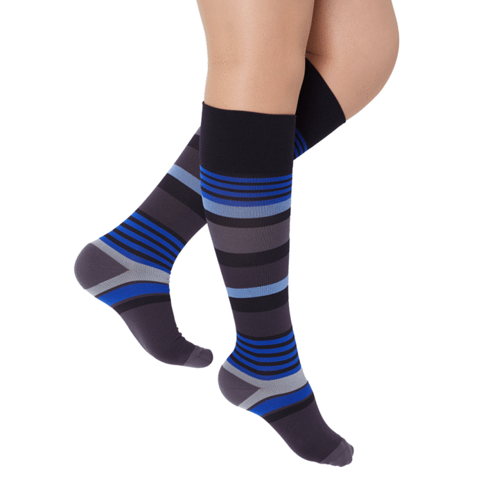 Rejuva Motley Stripe 15-20 mmHg Compression Socks