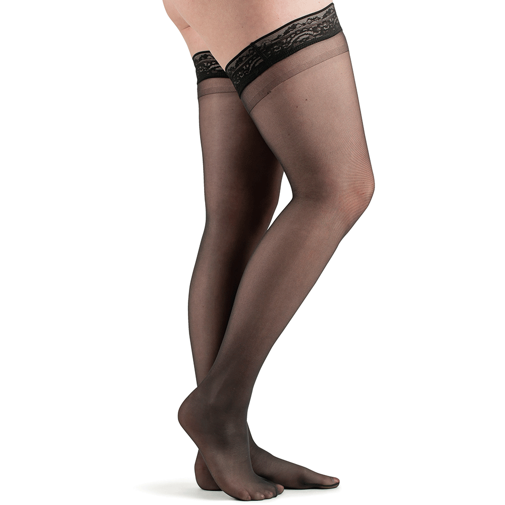 Actifi Women's 8-15 mmHg Sheer Thigh High Support Hose, Black