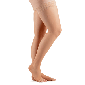 Actifi Women's 15-20 mmHg Sheer Thigh High Open Toe Stockings, Light Nude