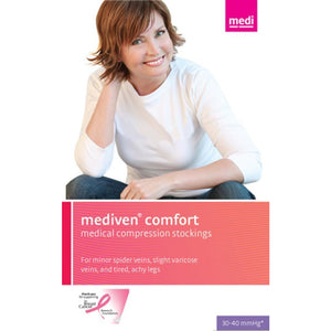 Mediven Comfort 30-40 mmHg OPEN TOE Thigh High w/ Lace Silicone Top Band