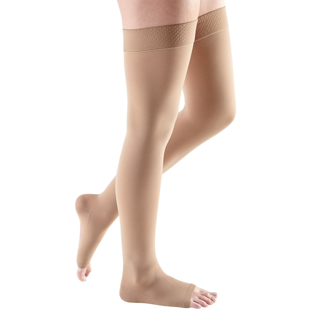 Mediven Comfort 30-40 mmHg OPEN TOE Thigh High w/ Beaded Silicone Top Band, Natural